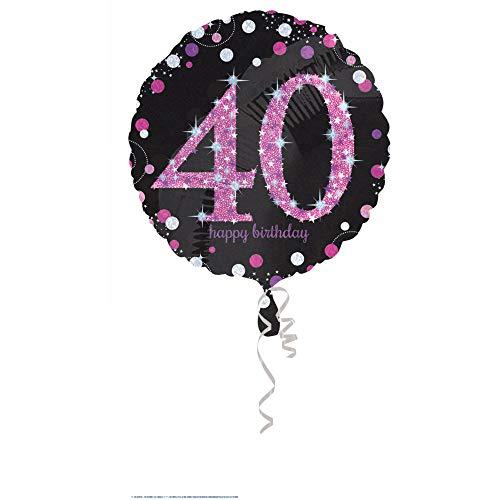 amscan 3378601 Folienballon 40.Geburtstag Celebration, Pink, Schwarz