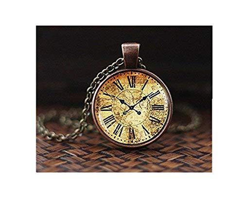 Vintage Weltkarte Uhr Anhänger, Antik Uhr Anhänger, Karte Anhänger, Antik Halskette Uhr, Vintage Uhr Halskette,