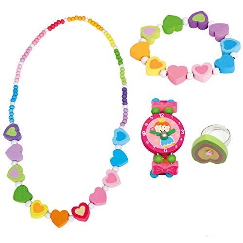 Bino Mädchenschmuck Kinderschmuck Holzschmuck 4 TLG. Set Motiv Regenbogen Herz - Halskette Armband Regenbogen Herz Armbanduhr Ring