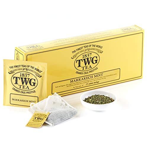 TWG Tea   Marrakech Mint, Single Estate. Infuso di erbe in 15 sacchetti di cotone cuciti a mano. Confezione regalo da 37,5 g
