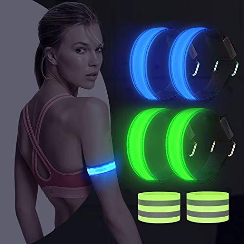 AivaToba Led Armband Joggen, 4 Stück Leuchtband Reflektorband, Reflective Leucht Armbänder Lichtband Lauflicht Licht Reflektoren Kinder Reflektor für Laufen Joggen Radfahren Hundewandern Running