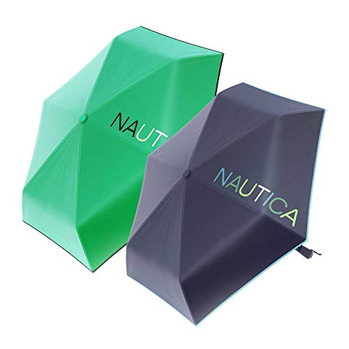 """2-Pack Nautica Umbrella Windproof - 3-Section Auto Open Travel Umbrella - Sturdy Rainy Day Protection with Ergonomic Handle, 42"""" of Coverage (Navy and Green)"""