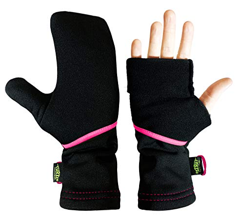Turtle Gloves Lightweight Convertible Running Mittens for Spring/Fall Size-M/L