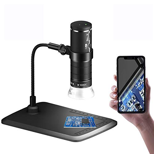 Wireless Digital Microscope, 1080P HD Handheld USB Microscope 50x to 1000x Magnification, WiFi Microscope with Stand and 8 Adjustable LED for iOS Android Smartphone Windows Mac PC