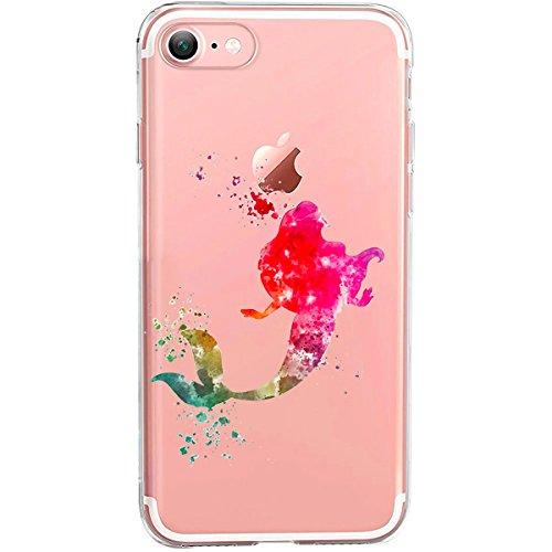 Cover compatibile con iPhone 6 – 6S, custodia trasparente in silicone, motivo: sirena/motivo in colorato.