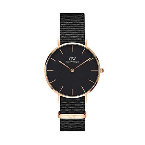 Daniel Wellington Petite Cornwall, Schwarz/Roségold Uhr, 32mm, NATO, für Damen