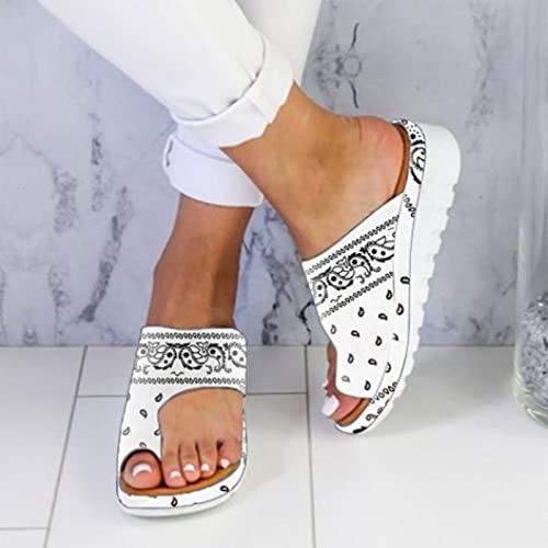 DZQQ 2021 Zapatillas de Cuero para Mujer, cómoda Plataforma Plana para Mujer, Informal, Suave, con Pinza para el Dedo del pie, corrección del pie, Sandalia, Corrector ortopédico para juanetes
