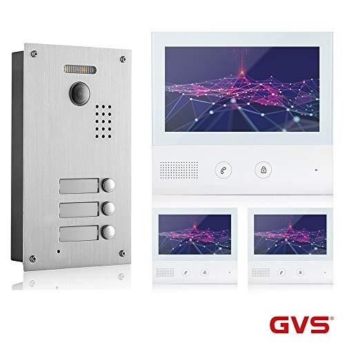 GVS 2-Draht-Video-Türsprechanlage, 3 Familienhaus Set, 3x7' Monitor mit Touchscreen, AVS7038-7071-33L