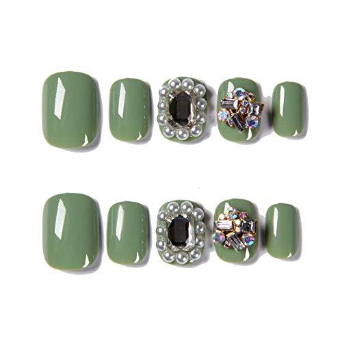 CLOAAE 24 Pieces Women Wearable Full Cover False Nail Press, Fresh Japanese Matcha Green, Rhinestone Luster False Nails