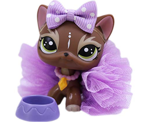 lpsloverqa Shorthair Cat Elk Brown Green Eyes with Accessories Lot Action Figure Boys Girls Kids Xmas Gift (Elk Shorthair Cat)