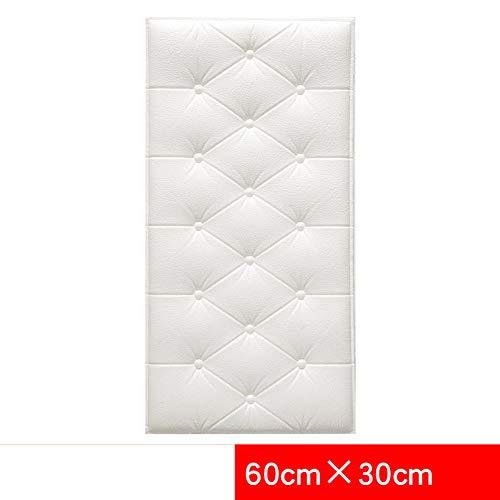 JXBoos Gepolstertes kopfteil Wandpaneele, Kinderzimmer Anti-kollision Sicherheit 3D wandsticker Weich Dick 3D Wand-Dekoration Leicht zu reinigen-Weiß 30x60cm(12x24inch)