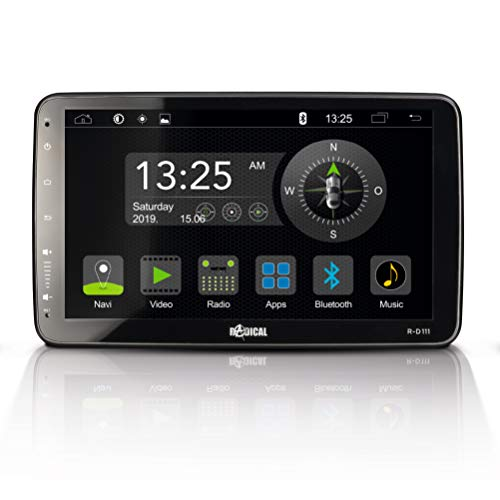 "RADICAL R-D111: 1-Din Android Autoradio, Multimediasystem mit DAB+, UKW, USB, Bluetooth, WiFi/WLAN, 10,1"" Touchscreen, App-Mirroring, Mediencenter mit offenem Android 9.0 OS"