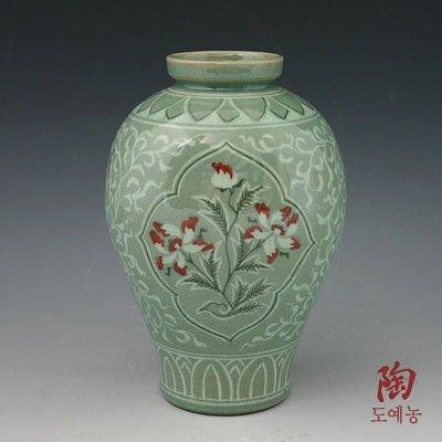 Korean Céladon Vernis-Semi-rond-Peinture Inlaid cuivre fleur de Lotus Vert décoratif avec inserts en céramique Pottery Vase Home Decor Accent