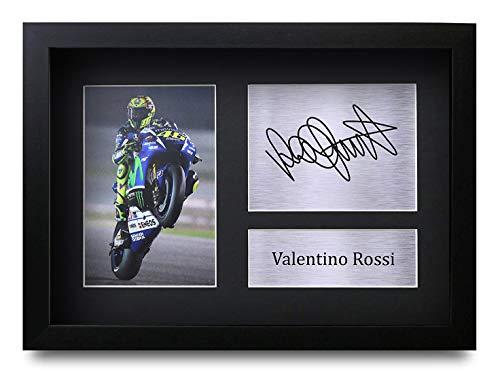 HWC Trading Valentino Rossi A4 Gerahmte Signiert Gedruckt Autogramme Bild Druck-Fotoanzeige Geschenk Für Superbikes Motogp Fans