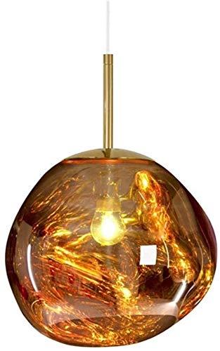 SKSNB Lampadario in Ferro, lampade a Sospensione Lava Lampada a Sospensione in Vetro Fuso Trasparente Plafoniere a LED postmoderne Lampada a Sospensione Irregolare in Vetro Lava, Oro, 20