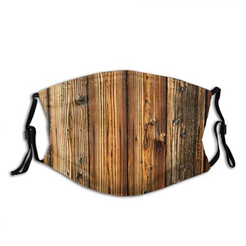 NIET Unisex gezicht Cover Verstelbare anti-stof-mond Cover wasbaar herbruikbare gezicht Cover voor fietsen Camping Reizen- Ruwe houten planken