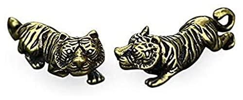WSJF Mini Messing Schlüsselanhänger Anhänger Kupfer Tiger Kleine Ornamente Retro Messing Chinesischer Tierkreis Tier Tiger Statue Figuren Schlüsselanhänger Anhänger Antike Schreibtisch Dekor