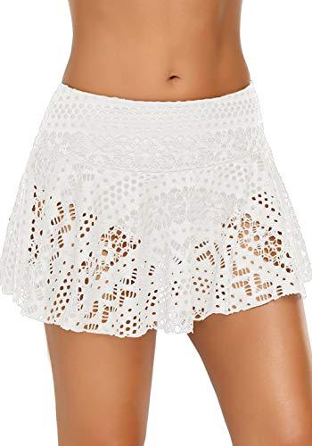 Aleumdr Pantalonici da Bagno Donna con Slip Gonna da Bagno Donna in Lace Donna Pantaloni da Nuoto Tinta Unita Costumi da Bagno con Pantaloncini, Bianco