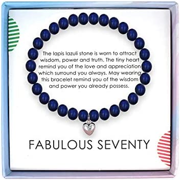 SOLINFOR 70th Birthday Gifts for Women Lapis Lazuli Beads Bracelet 70 Years Old Jewelry Gift product image