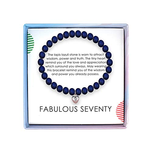 SOLINFOR 70th Birthday Gifts for Women - Lapis Lazuli Beads Bracelet - 70 Years Old Jewelry Gift Idea for Her