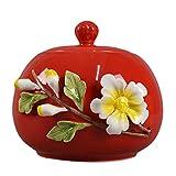 LTLJX Ceramica Urna Funeraria per Cane, Cremazione dell'Animale Domestico Urna con Motivo Floreale Oggetti Commemorativi e Funerari per Cani,Rosso,900ml