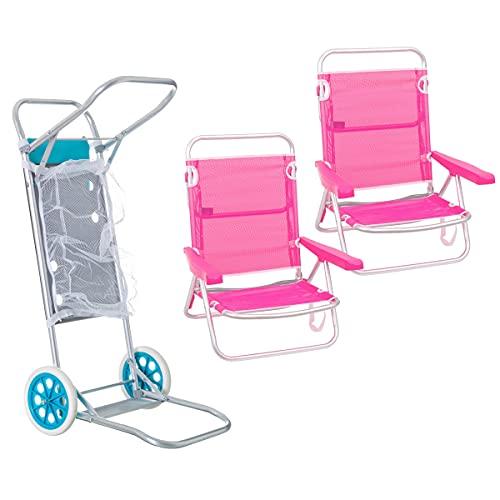 Pack de 2 sillas de Playa Rosa de Aluminio y textileno y Carro portasillas Nuevo y Mejorado - LOLAhome
