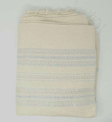 Tagesdecke Douceur, mit 'interieur Bettwäsche, Fouta Große 100prozent Baumwolle Lang. 2m92Breite. 2M28creme mit Streifen Lurex silber