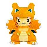 Pokemon Plush Toy 20Cm,Cute Pikachu Cosplay Snorlax Charizard Garchomp Stuffed Dolls with Cloak Cos Pikachu Toy Kids Gift Plush Toy WYYHYPY
