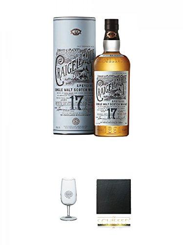 Craigellachie 17 Years Old Highland Single Malt 0,7 Liter + Classic Malt Nosing Glas mit Aufschrift 1 Glas + Schiefer Glasuntersetzer eckig ca. 9,5 cm Durchmesser