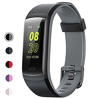 YAMAY Fitness Tracker, Fitness Watch Heart Rate Monitor Activity Tracker,Color Screen Dual-Color Bands IP68 Waterproof,with Step Counter Sleep Monitor 14 Sports Tracking for Women Men (Black-Gray)
