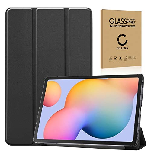 subtel Smart Case + Screen protector glass compatible with Samsung Galaxy Tab S6 Lite (SM-P610 / SM-P615) synthetic Leather Protective Flip Cover Flap Case 360° Protection front and back Wallet Black