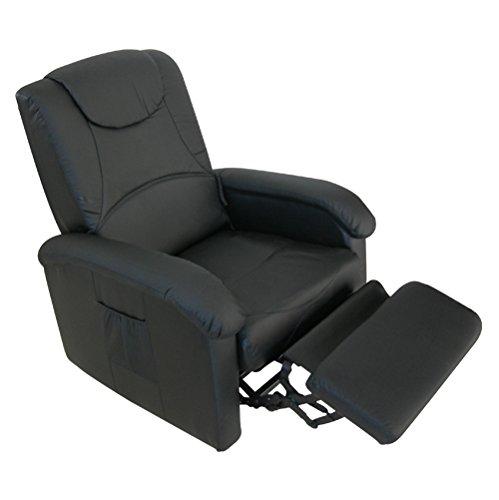 RR Design - Sillón relax eléctrico con elevador y vibrador modelo Simona, color negro