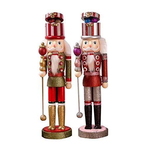Hifuture 2 STÜCKE Hölzerne Weihnachts Nussknacker Puppe Handbemalte Ornamente Retro Soldaten Figuren Marionette Dekor Geschenk Für Zu Hause Urlaubs Party 38 cm Hoch