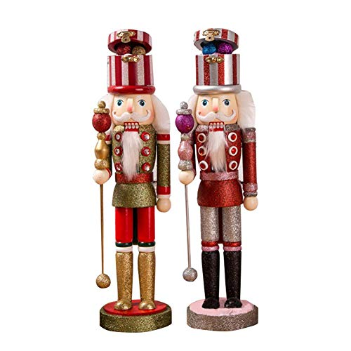 Exuberanter 2PCS Nussknacker Figur Groß Holz Nussknacker Weihnachten Vintage Wohnkultur Weihnachtsdeko Figuren, 38CM