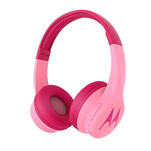 Motorola Squads 300 - Auriculares Bluetooth para Niños - 24hrs - Volumen limitado 85dB, Flexible y duradero, Protección auditiva y función para compartir música, Cojín antialérgico (sin BPA) - Rosa