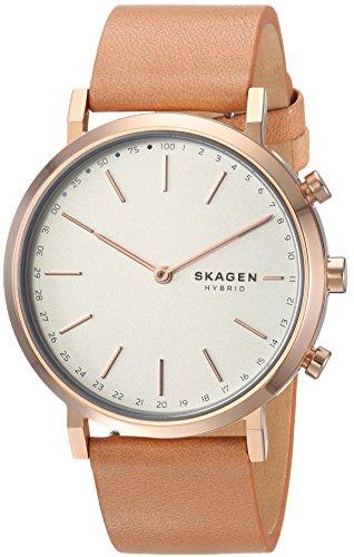 Skagen Women's Hald Stainless Steel and Leather Hybrid Smartwatch, Color: Rose Gold-Tone, Tan SKT1204