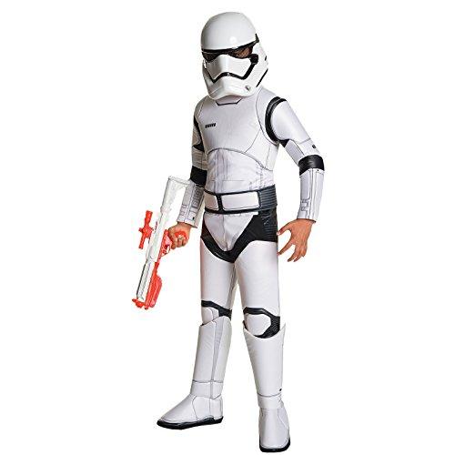Star Wars 7 Kostüm Kinder Stormtrooper Deluxe 3-TLG Overall Gürtel Maske weiß - S