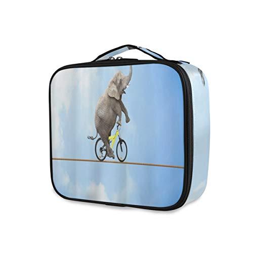 SUGARHE Acrobacia de Elefantes Monta Bicicleta en el Cielo Azul de Alambre,Neceser Maquillaje,Bolsa Cosméticos Organizador Brochas Maquillaje Estuches Portátil