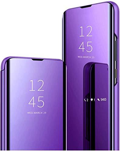 Funda compatible con Xiaomi Mi Note 10 Lite, funda de teléfono móvil con función atril de PC, compatible con cargador inalámbrico, funda negra (lila, Xiaomi Mi Note 10 Lite)