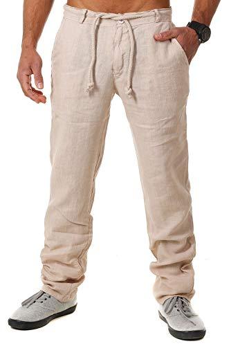 Young & Rich Herren Leinenhose Sommerhose 100% Leinen mit Kordelzug Leichter Tapered Legs T4080, Grösse:L, Farbe:Beige