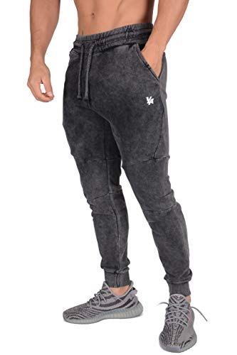 YoungLA Authentic Joggers for Men | Cuffed Tapered Slim Fit Sweatpants | Gym Sports Activewear Workout Clothes with Zipper Pockets 212 Black Washed Large