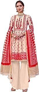 Dazzling Cream & Red Palazzo Style Suit