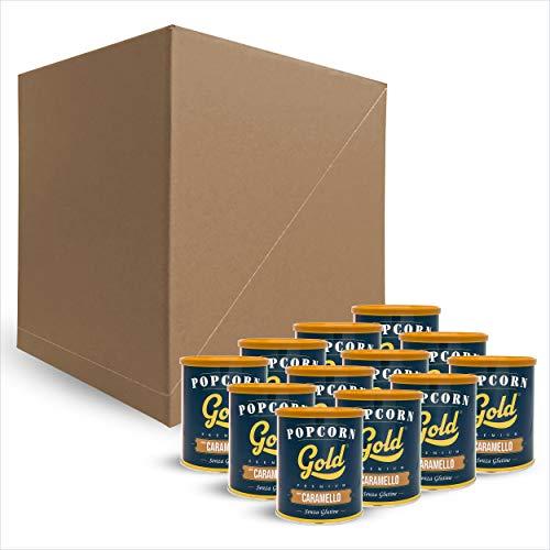Fun Food Italia Popcorn Gold Premium Gusto Caramello - senza glutine - confezione risparmio da 12 barattoli da 60 g cad