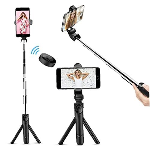 Tuimiyisou Selfie Stick Bluetooth, Bluetooth Extensible Selfie Stick Tripod con Soporte Remoto Inalámbrico Desmontable Y Trípode para Viajar, Compatible con iPhone/Samsung/Huawei Y Más