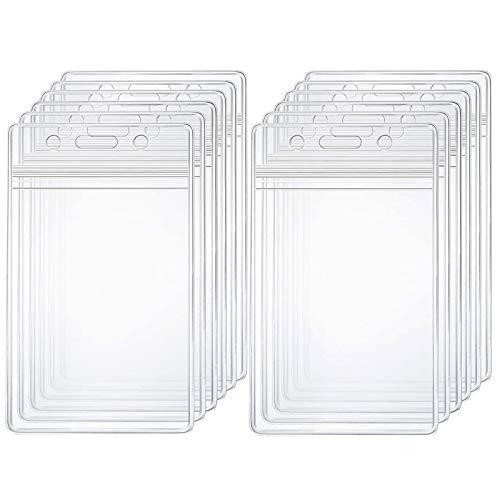 Crystal Clear ID Card Badge Holder Vertical Zip Lock Plastic Waterproof Resealable PVC Name Tag Card Holders Sleeves for Lanyard Nurse Work Hospital Office Use, 12PCS