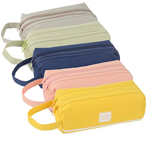 SUBANG 5 Pieces Large Capacity Pencil Case Canvas Pen Storage Zipper Pencil Case Office Organizer Stationery Bag Cosmetic Bag