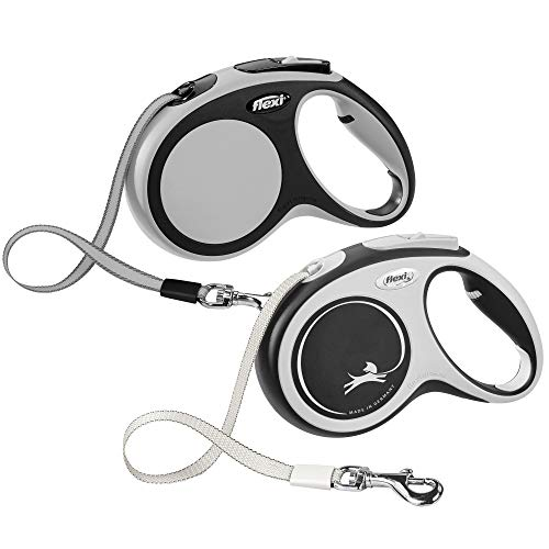 FLEXI New Comfort Retractable Dog Leash (Tape), 16 ft, Medium, Grey/Black