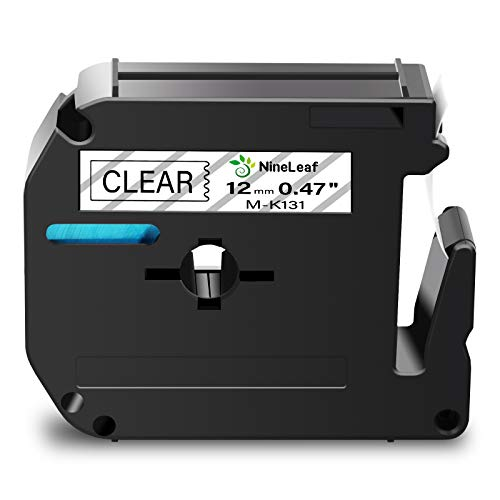 """NineLeaf 1 Pack Compatible for Brother P-Touch M Label Tape MK131 M-K131 M131 Black on Clear 1/2"""" (12mm) x 26.2ft (8m) Labeling Refill Cartridge Work in PT-45M PT-65 PT-70 PT-80 PT-M95 Label Maker"""