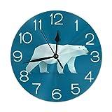 Home Decor Polar Bear Round Wall Clock Acrylic Silent Non Ticking Decorative Clocks