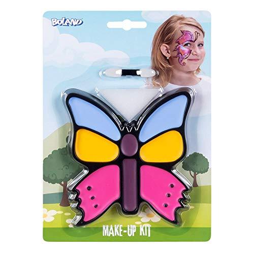 Boland 45105 - Juego de maquillaje con forma de mariposa pequea, paleta de maquillaje, 4 colores con aplicador y esponja, disfraz, carnaval, fiesta temtica, Halloween